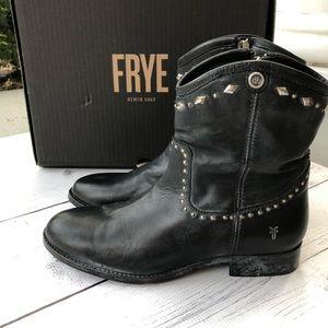 Frye Melissa Multi-studded Short Leather Boots 7
